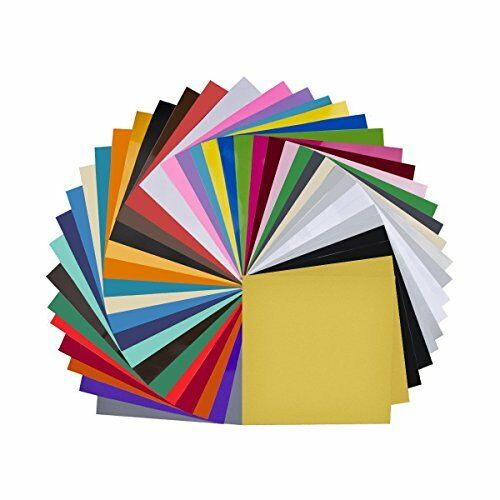 "Vinyl Sheets 40 Pack 12"" x Premium Permanent Self Adhesive for Cricut"