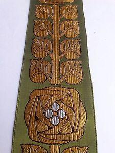 Orphrey-Fleury-Diseno-Rayon-Banda-Oro-en-Verde-Oliva-para-Vestment-7-6cm-Raro