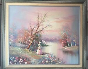 Details About Vintage Artist Signed Oil Painting Landscape Stream Woman River Flowers
