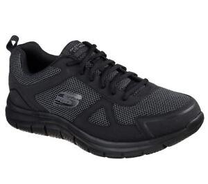 Dettagli su SKECHERS Uomo Wide Fit Track Bucolo formazione sneaker in nero mostra il titolo originale