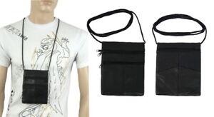 19a8d2c65bb14 Das Bild wird geladen Tasche-Brusttasche-Brustbeutel-Ausweistasche-Echt- Leder-Schwarz-16-