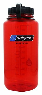 NEW Nalgene WIDE MOUTH Loop Top Water Bottle 32 Ounce RED Bottle With Black Lid