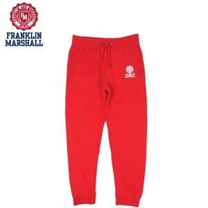 buy popular 0e6d1 fd0ea Dettagli su Pantaloni felpati Franklin & Marshall sweat pant fleece rosso  uomo cerniera zip