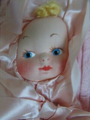 Clients First Antique Crib Carriage Blanket Doll Head 1930's Georgene?? Antiques