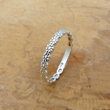 925 Sterling Silver Daisy Chain Flower Thumb or Finger Band Ring Jewellery