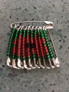 Poppy beaded safety pin brooch ebay for Safety pin and bead crafts