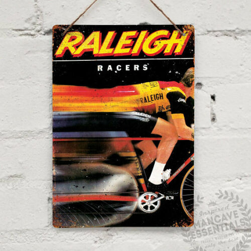 Raleigh Racers Advert Vintage Metal Wall Sign Plaque Mancave Bike Cycle Team TI