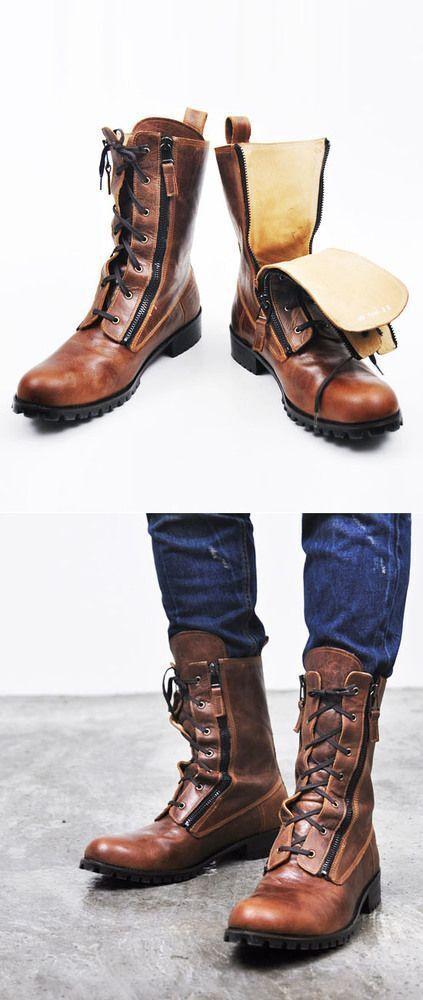 Nuevo hecho a mano de cuero para hombre Estilo Militar botas Largas Hombres botas Excelente Suela De Goma