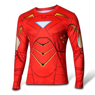 Superhero Long Sleeve T-Shirt Cycling Jersey Sweatshirt Men's Costume Tops Shirt