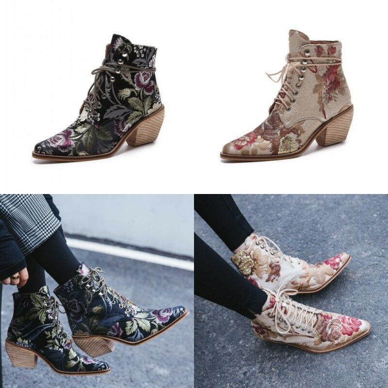 Womens Ladies Ankle Boots Casual Embroidery Lace Up Low Block Heel Shoes Sizes