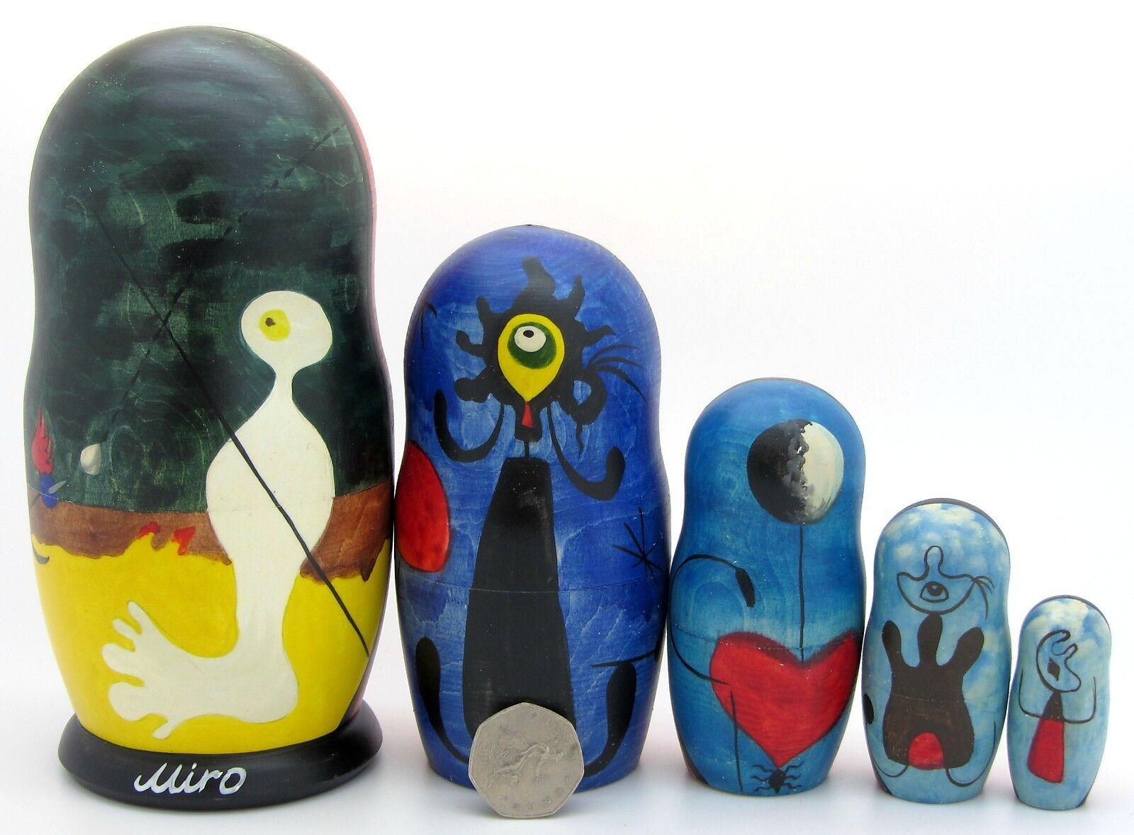 Muñecas-caja Rusas Matrioska Matrioska Matrioska Miró i Ferrà 5 Miro Persona Lanzando Piedra Pájaro  perfecto