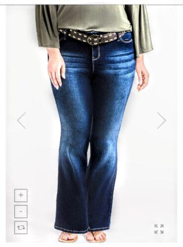 YMI Junior Plus Jeans Slim Fit Boot Cut Dark Wash Stretch Fashion Belt 5 Pocket