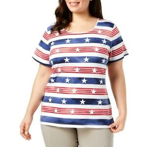 Karen Scott Womens Sweater Red Gold Striped Boat Neck Plus Size 2X