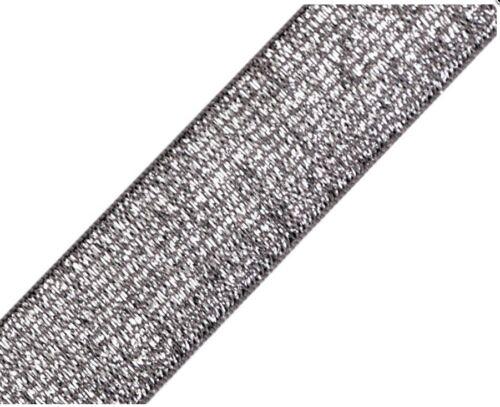 1-3cMeter elastisches Gummiband Lurex 20-30 mm gold silber schwarz grau Metallis