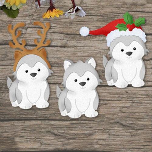 Christmas Dog Metal Cutting Dies Scrapbook Album Paper Card Embossing Craft HE