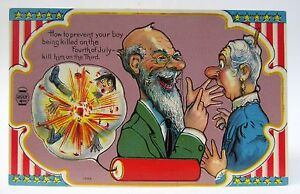 circa 1909 HOW TO PREVENT YOUR BOY BEING KILLED 4th of July CARTOON postcard