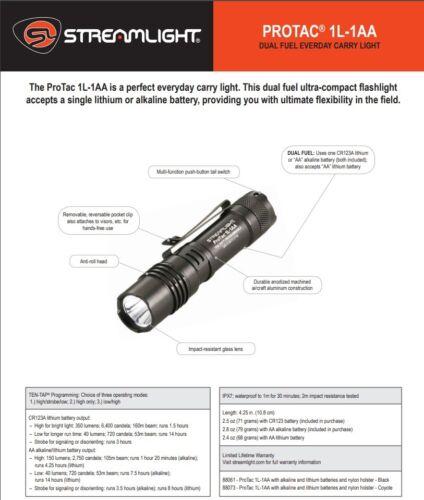 Streamlight ProTac 1L-1AA 350 Lumen Dual Fuel Professional Tactical Light 88061