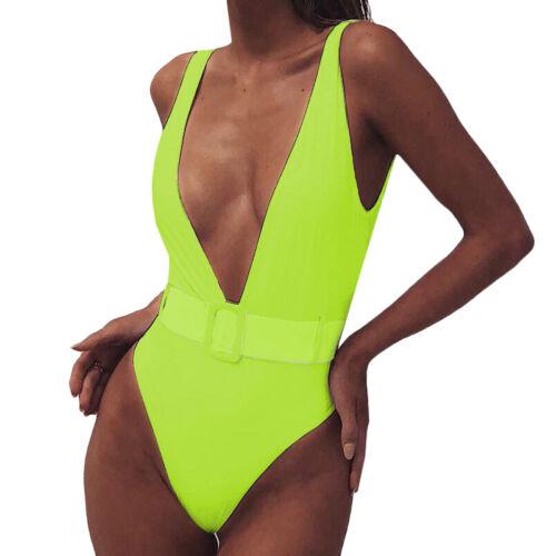 Women Push Up Bikini One Piece Monokini Swimsuit Solid Swimwear Bathing Suit New