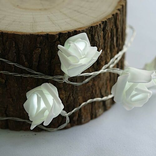 18 feet White ROSES LED Lights Garlands Battery Wedding Party Centerpieces Decor
