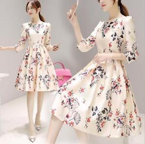 884e118506d Details about Fashion Women Girls Summer Dress A-Line Dress 3 4 Sleeve  Floral Korean Dress 177