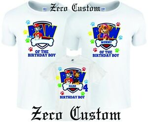 2231dec4e Details about Paw Birthday Boy patrol Family Customized matching WHITE T-Shirts  all sizes