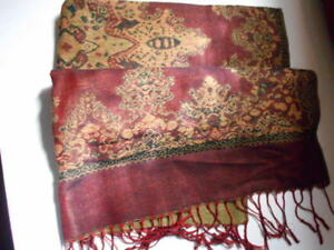 Shawl-Wool-Blend-70-034-Maroon-and-Golden-Colors