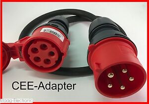 cee adapter starkstrom 32 a stecker auf 16 a kupplung 1 mtr h07rn f 5g2 5 ebay. Black Bedroom Furniture Sets. Home Design Ideas