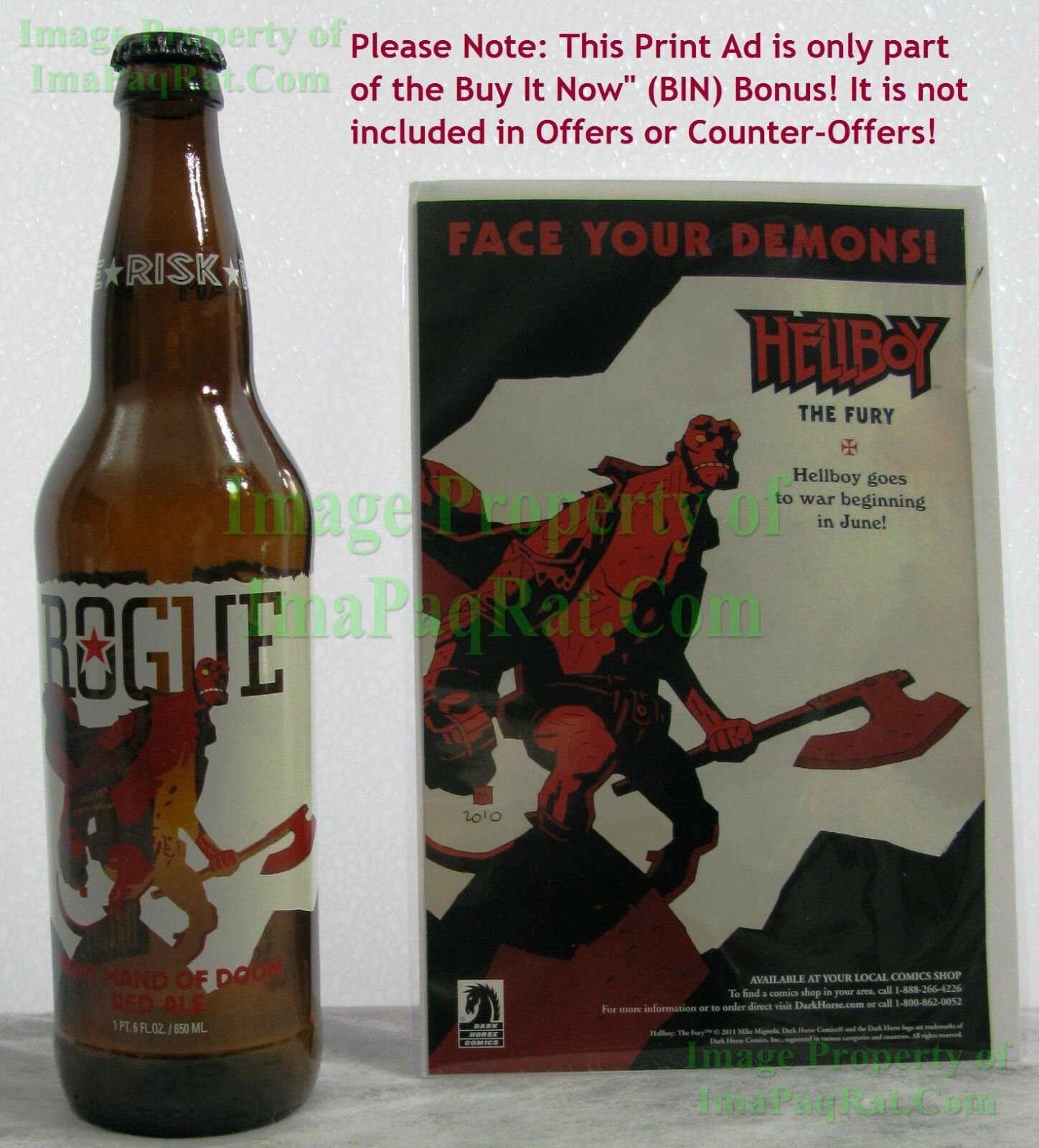 Hellboy Right Hand Of Doom Red Ale Empty Rogue Beer Bottle w  Cap & a BIN BONUS