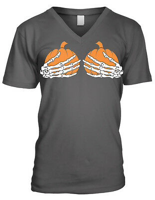 Skeleton Hands Holding Pumpkins Breasts Halloween Boobs Juniors V-Neck T-Shirt
