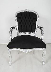 Incroyable Image Is Loading 10x Joblot French Louis Armchair Silver Black Shabby
