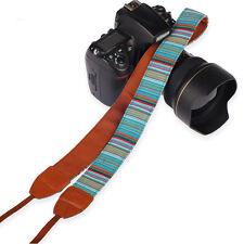 Vintage Multi-Color Camera Leather Shoulder Neck Belt Strap For SLR DSLR Canon