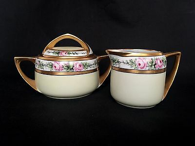 Bohemia Czech Hand Painted Pink Floral Gold Gild Cream and Sugar Bowl with Lid