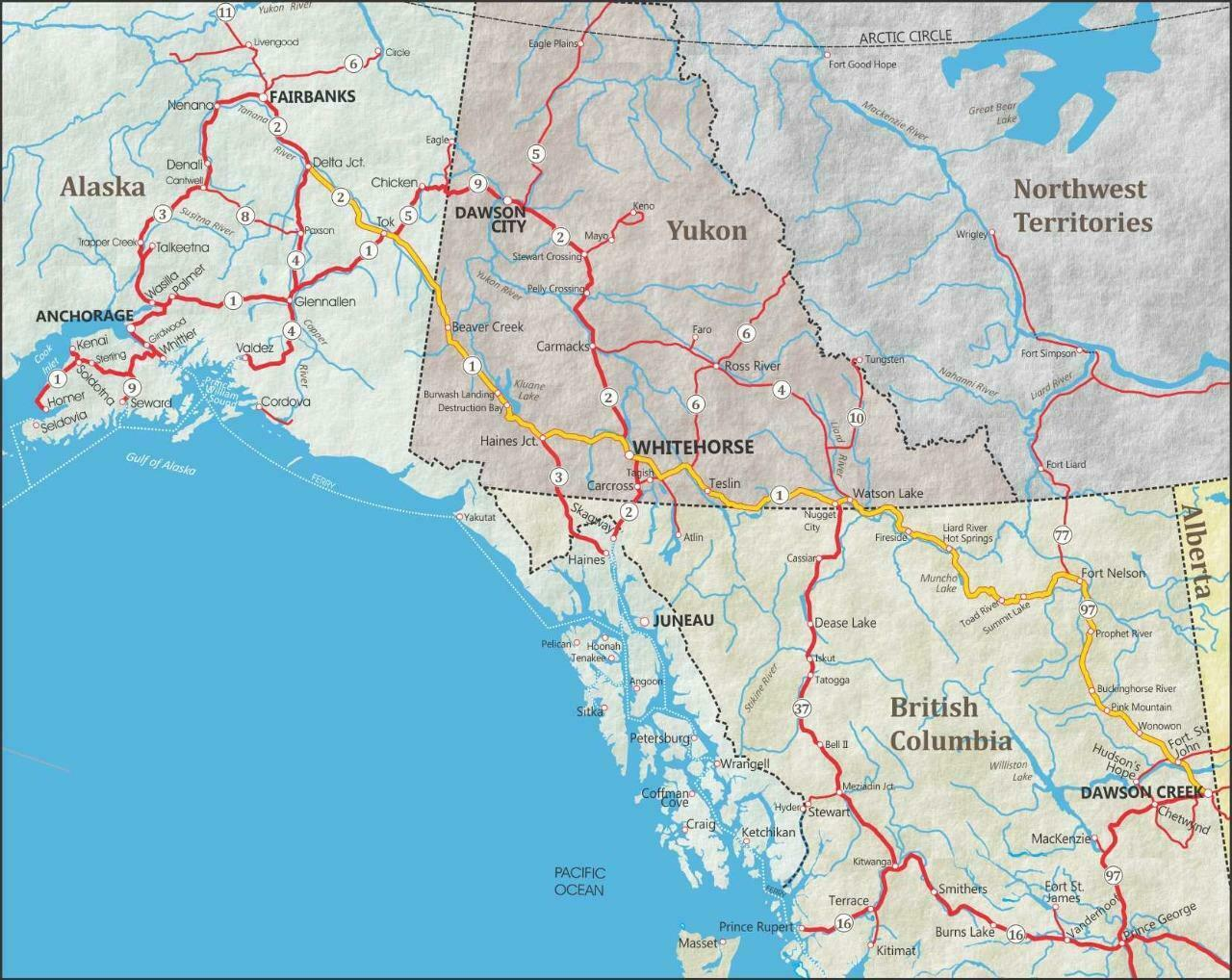 ALASKA ROAD MAP GLOSSY POSTER PICTURE PHOTO city county state alaskan ak 2440