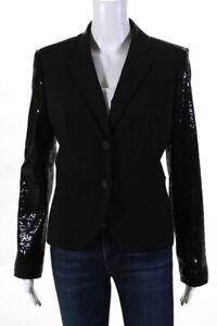 Calvin Klein Womens Sequined Sleeve Button Down Blazer Black Size 8