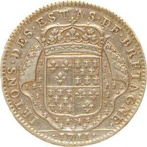 L9469-Jeton-Louis-XIV-Etats-de-Bretagne-Dinan-1711-Argent-Silver-gt-Faire-Offre