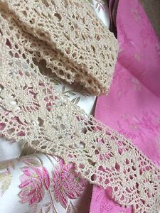 Antique-Cotton-Lace-Flounce-Trim-Sewing-Edging-Costume-Remnant-2-Yards-Yardage