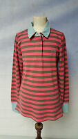 Joules Junior Penny Carmine Pink + Brown Striped Long Sleeve Polo Top Age 9-10