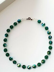 Vintage-1950s-15-5-034-Sparkly-Aurora-Borealis-Green-Faceted-Glass-Necklace