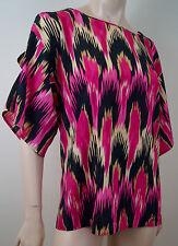 MICHAEL KORS Cream Pink & Black Geometric Print Short Sleeve Blouse Top SzS BNWT