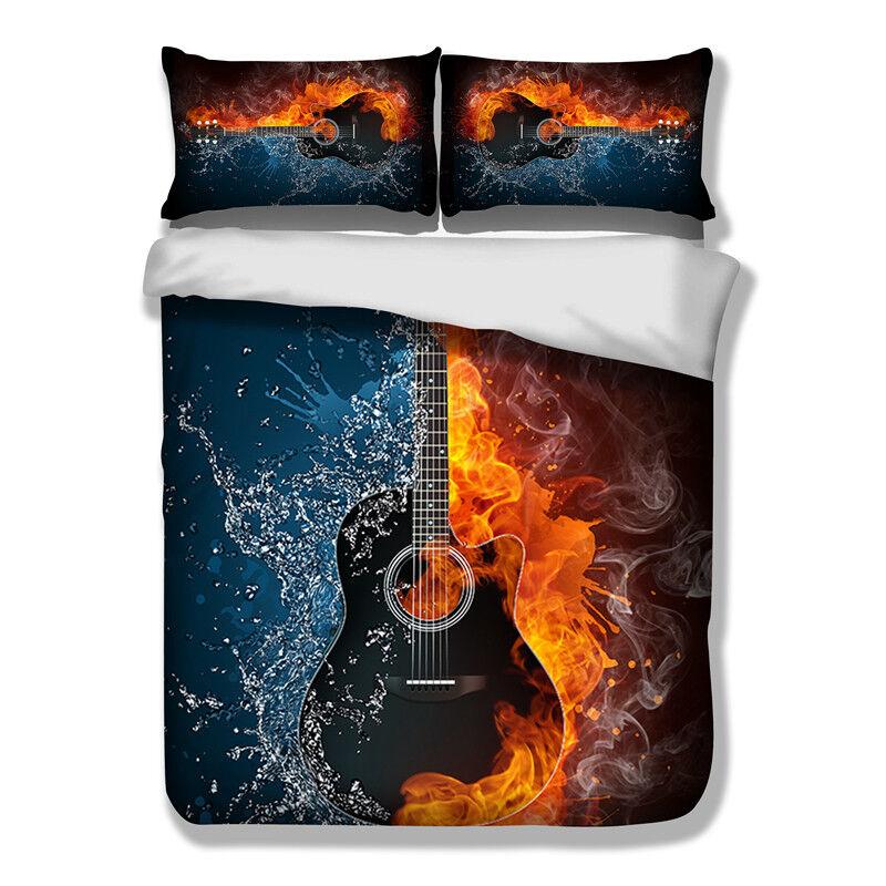 3D Water and Fire Guitar Duvet Cover Set Comforter Quilt Cover Sets Pillowcase