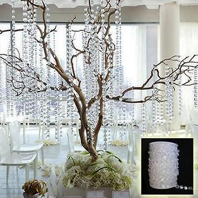 33FT Bead String Garland Diamond Acrylic Crystal Room Curtain Wedding Decoration