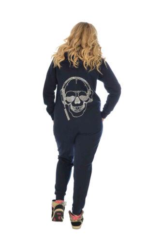 stile da con a scollo Skull intera Tuta donna cuore strass in in xBWtvX