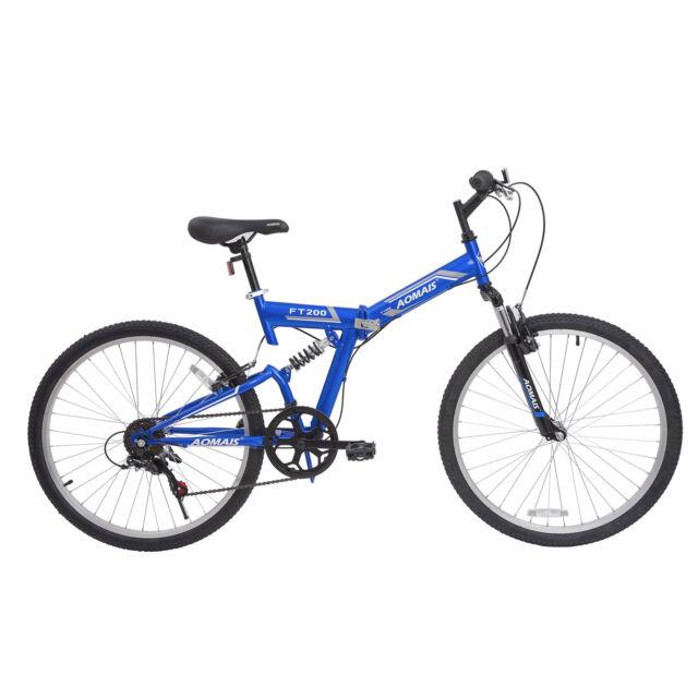"26"" Folding Mountain Bicycle Foldable Hybrid Bike 7 Speed Full Suspension Blue"