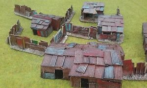 PAINTED-5-x-15mm-Shantys-amp-fencing-Wargaming-Terrain-AK47-District-9-Sci-fi