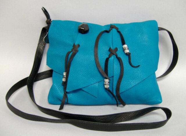 Maverick Turquoise Leather Purse Deerskin Hand Made Shoulder Bag Black New Gift