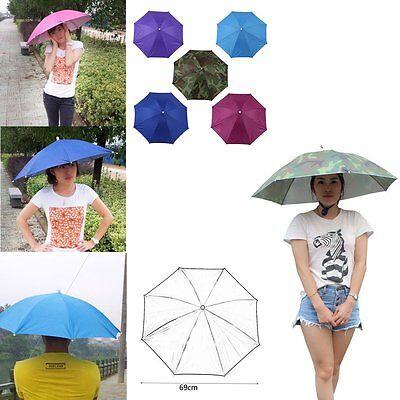 Kompetent Portable 69cm Umbrella Hat Cap Folding Fishing Hiking Handsfree Umbrella Vx Stabile Konstruktion