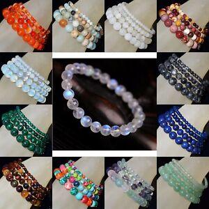 Handmade-Natural-Gemstone-Round-Beads-Stretch-Bracelet-4mm-6mm-8mm-10mm-7-5-034