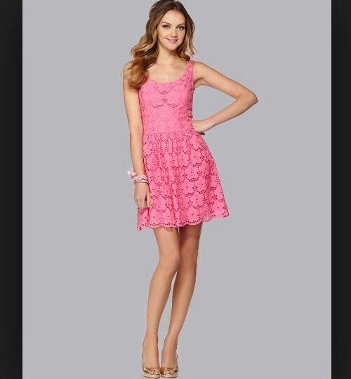 NWT Lilly Pulitzer Calhoun Dress PB Pink Charleston Eyelet sz 10  228