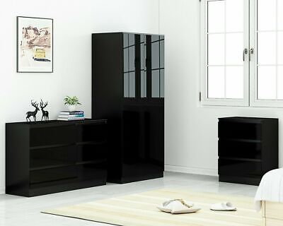 Black High Gloss Bedroom Furniture.Modern Design.Available separately or as  Sets | eBay