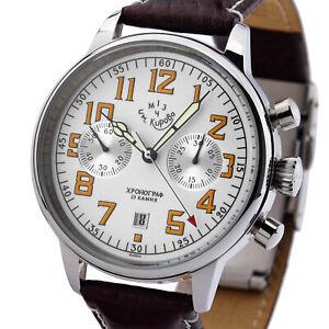 KIROVA-Uhr-Chronograph-mechanisch-1MWF-Poljot-3133-Russland-NOS-Handaufzug